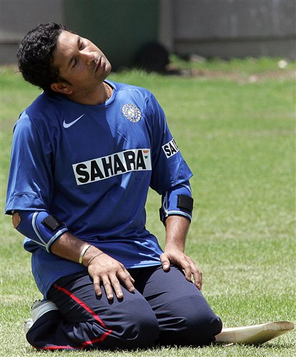 India's cricket player Sachin Tendulkar, excises during the team practice in Benoni, South Africa.