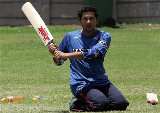 India's cricket player Sachin Tendulkar, during the team practice in Benoni, South Africa.