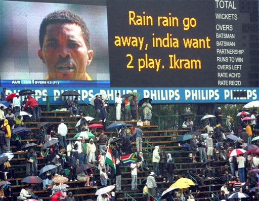 Rain delays the start of the 1st match one-day series against South Africa's in Johannesburg, South Africa, Sunday. The first one-day international match between South Africa and India was officially called off, because of persistent rain.