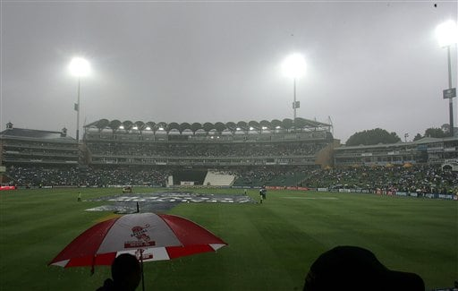 Rain delays the start of the 1st match one-day series India against South Africa in Johannesburg, South Africa, Sunday. The first one-day international match between South Africa and India was officially called off, because of persistent rain.