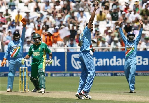 India's Anil Kumble appeals unsuccessfully for the lbw against South Africa's Mark Boucher during their third one-day international in Cape Town, South Africa, Sunday, Nov 26, 2006.