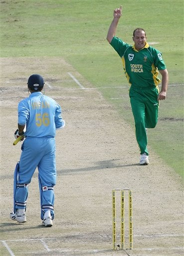 India's Irfan Pathan's wicket is taken by South Africa's Jacques Kallis during their third one-day international in Cape Town, South Africa, Sunday, Nov 26, 2006.