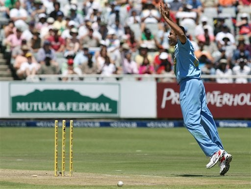 India's Anil Kumble reacts after the run out of South Africa's Mark Boucher, unseen, during their third one-day international in Cape Town, South Africa, Sunday, Nov 26, 2006.