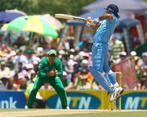 Indian batsman Mahendra Singh Dhoni plays a shot during the final ODI at Supersport Park, Centurion on Sunday