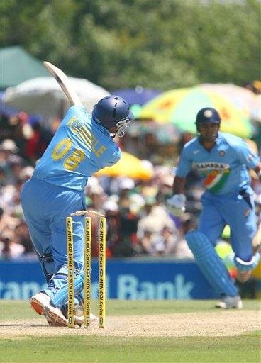 Indian batsman Anil Kumble gets bowled out by Makaya Ntini during the final ODI at Supersport Park, Centurion on Sunday.