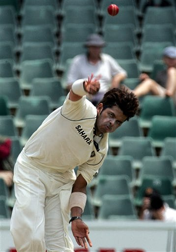 India's bowler Shanthakumaran Sreesanth bowls during the second day of the first cricket Test match against South Africa's second innings at the Wanderers stadium in Johannesburg, South Africa.