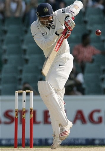India's batsman Virender Sehwag, plays a side shot during their second innings on the second day the second day of the first cricket Test match against South Africa at the Wanderers stadium in Johannesburg, South Africa, Saturday.