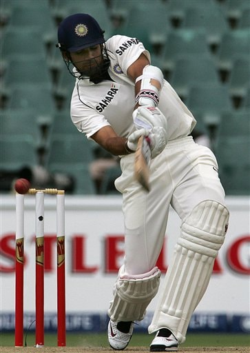 India's batsman Zaheer Khan, plays a shot during the second day of the first cricket test match against South Africa at the Wanderers stadium in Johannesburg, South Africa.