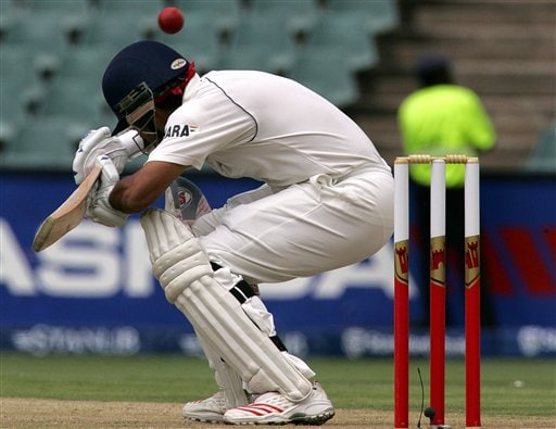 India's batsman Sourav Ganguly, ducks under a bouncer during the second day of the first cricket test match against South Africa at the Wanderers stadium in Johannesburg, South Africa.