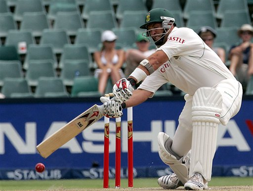 South Africa's batsman Jacques Kallis, plays shot during the third day of the 1st cricket test match against India's second innings at the Wanderers stadium in Johannesburg, South Africa.