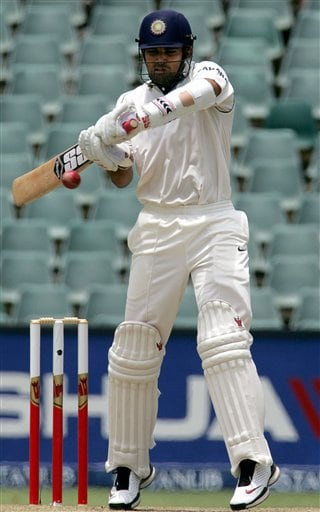 India's batsman Zaheer Khan, plays a shot during their second innings on the third day the second day of the 1st cricket test match against South Africa at the Wanderers stadium in Johannesburg, South Africa.