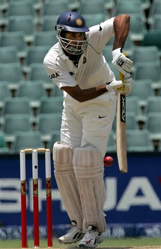 India's batsman VVS Laxman, plays a side shot during their second innings on the third day of the 1st cricket test match against South Africa at the Wanderers stadium in Johannesburg, South Africa.