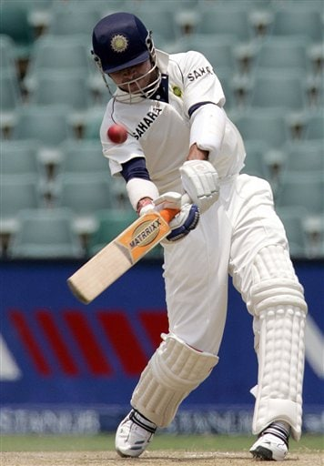 India's batsman Shanthakumaran Sreesanth, plays a stroke as hit 6 runs during their second innings on the third day of the 1st cricket test match against South Africa at the Wanderers stadium in Johannesburg, South Africa.