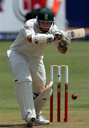 South Africa's batsman Graeme Smith, leaves the ball on the first day of the 2nd Cricket Test match against India at Kingsmead stadium in Durban.