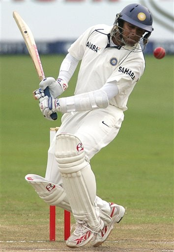 India's batsman Rahul Dravid avoids a bouncer from South Africa's bowler Makhaya Ntini, unseen, during their second innings on the fourth day of the 2nd cricket Test match against South Africa at Kingsmead stadium in Durban, South Africa, Friday.
