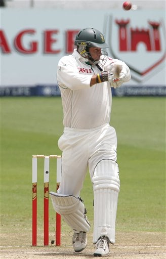 South Africa's batsman Andrew Hall plays a shot during their second innings on the fourth day of the 2nd cricket Test match against India at Kingsmead stadium in Durban, South Africa, Friday.
