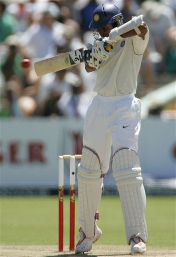 India's batsman Wasim Jaffer, plays a shot on the first day of the 3rd and final Test match against South Africa at Newlands stadium in Cape Town, South Africa, Tuesday.
