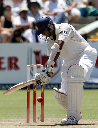 India's batsman Wasim Jaffer, blocks the ball on the first day of the 3rd and final Test cricket match against South Africa at Newlands stadium in Cape Town, South Africa, Tuesday.