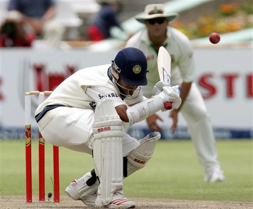 India's batsman Sourav Ganguly, left, ducks under a bouncer as South Africa's fielder Jacques Kallis, right, on the second day of the 3rd and final Test match against South Africa at Newlands stadium in Cape Town, South Africa, Wednesday.