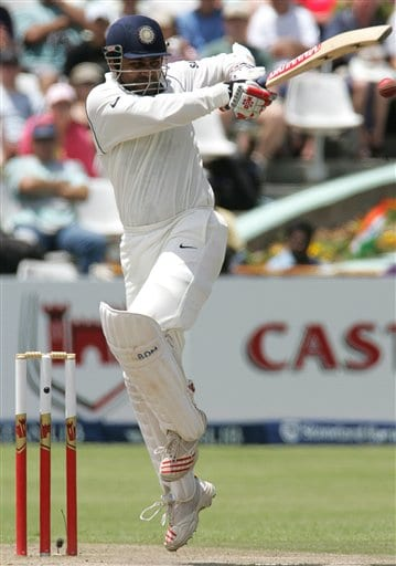 India's batsman Virender Sehwag, plays a shot on the second day of the 3rd and final Test match against South Africa at Newlands stadium in Cape Town, South Africa, Wednesday.