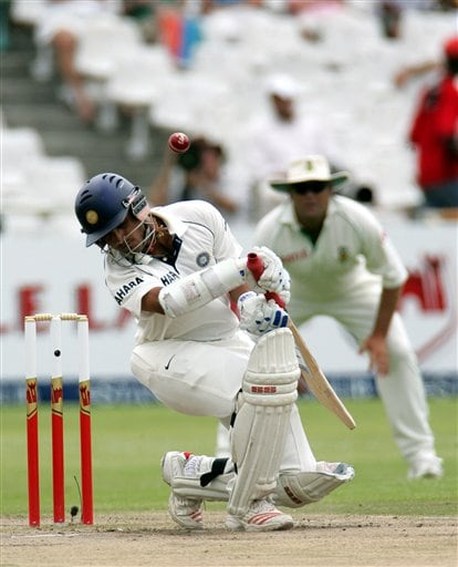 India's batsman Sourav Ganguly, avoids a bouncer from South Africa's bowler Dale Steyn, unseen, on the fourth day of the 3rd and final Test match against South Africa at Newlands stadium in Cape Town, South Africa, Friday.