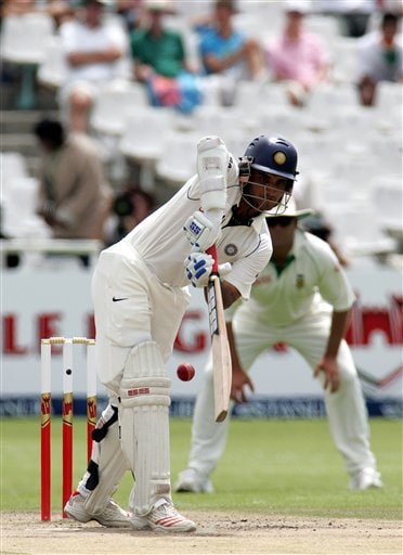 India's batsman Sourav Ganguly, plays a side shot on during the fourth day of the 3rd and final Test match against South Africa at Newlands stadium in Cape Town, South Africa, Friday.