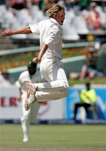 South Africa's bowler Paul Harris celebrates after dismissing India's batsman Rahul Dravid, unseen, for 47 runs on the fourth day of the 3rd and final Test match against India at Newlands stadium in Cape Town, South Africa, Friday.