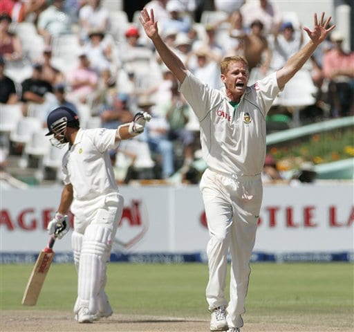 South Africa's bowler Shaun Pollock, right, appeals successfully for a LBW to dismiss India's batsman Sachin Tendulkar, left, for 14 runs on the fourth day of the 3rd and final Test match against India at Newlands stadium in Cape Town, South Africa, Friday.