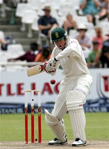 South Africa's batsman Shaun Pollock bats on the final day of the 3rd and final Test match against India at Newlands stadium in Cape Town