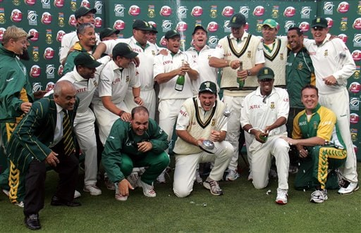 South Africa's cricket team celebrates after winning by 5 wickets the 3rd test and the series against India at Newlands stadium in Cape Town, South Africa, Saturday