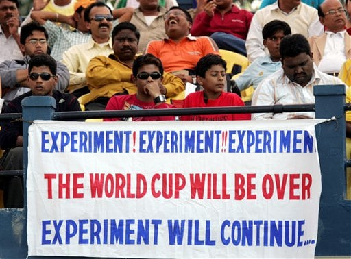 Cricket fans watch the second one-day international cricket match between India and West Indies in Cuttack.