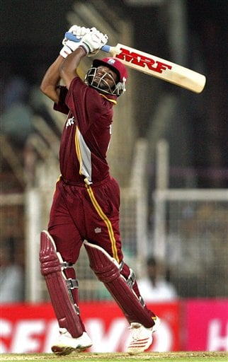 West Indies' cricketer Brian Lara plays a shot against India during the third one-day international cricket match in Chennai, India, Saturday, January 27, 2007.