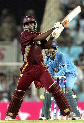West Indies' cricketer Marlon Samuels plays a shot against India during the third one-day international cricket match in Chennai, India, Saturday, January 27, 2007.
