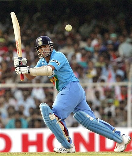 Indian cricketer Sachin Tendulkar plays a shot against West Indies during the third one-day international cricket match in Chennai, India, Saturday, January 27, 2007.