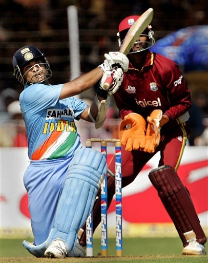 India's Sachin Tendulkar plays a shot against West Indies during the fourth one day international cricket match in Vadodara, India.