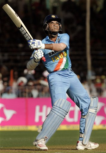 India's Sourav Ganguly plays a shot against West Indies during the fourth one day international cricket match in Vadodara, India.