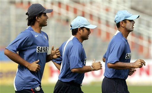 India's Rahul Dravid, right, Sachin Tendulkar, center, and Sourav Ganguly jog during a practice session a day before the first one day international cricket match against Sri Lanka in Kolkata, India, Wednesday February 7, 2007.