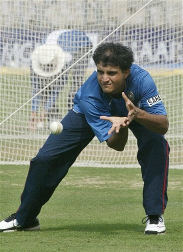 India's Sourav Ganguly practices in the nets in Kolkata, India, Wednesday, February 7, 2007.