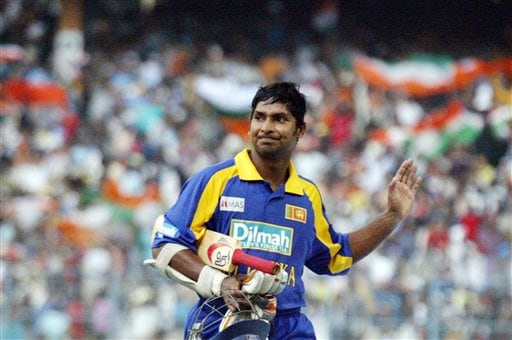 Sri Lanka's Kumar Sangakara gestures as he walks back to pavilion after his dismissal, during the first one-day international match in Kolkata on Thursday, February 8, 2007.