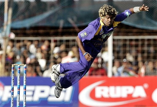 Sri Lankan cricketer Lasith Malinga delivers a ball against India during the second one-day international in Rajkot, India, Sunday, February 11, 2007.