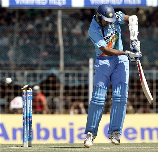 Bails for India's Rahul Dravid goes off on the delivery of Sri Lanka's Farveez Mahroof, unseen, during the second one-day international in Rajkot, India, Sunday, February 11, 2007.