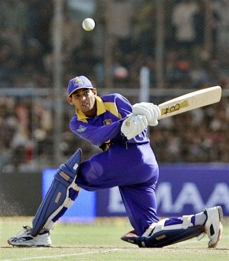 Sri Lankan cricketer Tillakaratne Dilshan bats during the second one-day international against India in Rajkot, India, Sunday, February 11, 2007.