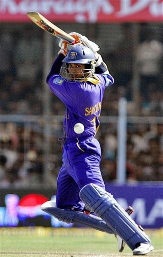 Sri Lankan cricketer Kumar Sangakkara bats during the second one-day international against India in Rajkot, India, Sunday, February 11, 2007.