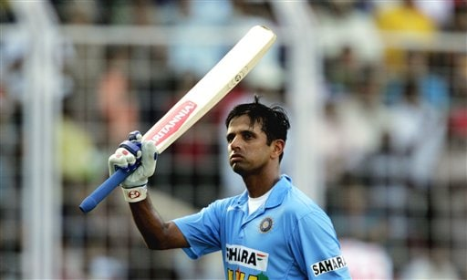 Indian captain Rahul Dravid acknowledges the crowd after his dismissal at 66 runs during the third one day international cricket match against Sri Lanka in Goa, India.