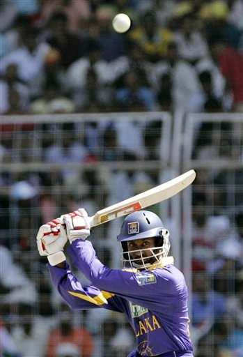 Sri Lanka's Russel Arnold plays a shot during the third one day international cricket match against India in Goa, India.
