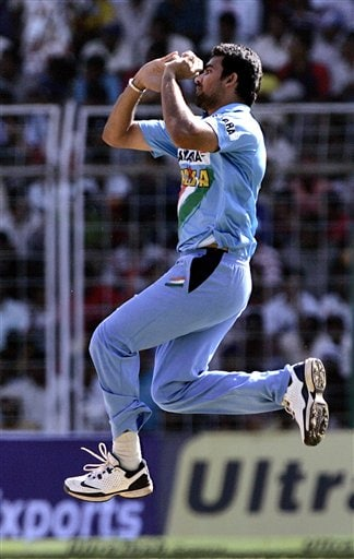 India's Zaheer Khan delivers a ball during the third one day international cricket match against Sri Lanka in Goa, India.