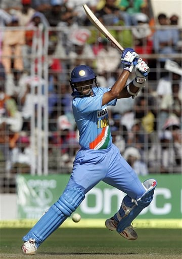Indian captain Rahul Dravid plays a shot during the third one day international cricket match against Sri Lanka in Goa, India.