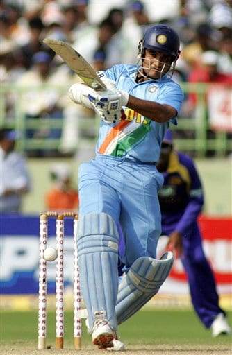 Indian cricketer Sourav Ganguly plays a shot during the fourth ODI in Vishakapatnam, India, Saturday, February 17, 2007.