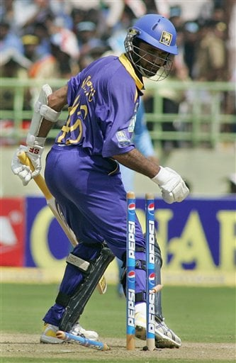 Bails for the wicket of Sri Lankan cricketer Marvan Atapattu goes off on the delivery of India's S Sreesanth, unseen, during the fourth ODI in Vishakapatnam, India, Saturday, Febuary 17, 2007.