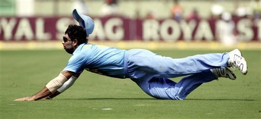 Indian cricketer Yuvraj Singh attempts to stop the ball while fielding against Sri Lanka during the fourth ODI in Vishakapatnam, India, Saturday, February 17, 2007.